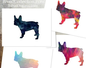 French Bulldog - Dog  Silhouette Note Card Collection -  Digital Download Printable