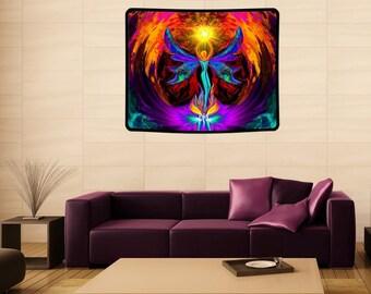 "Angel Tapestry, Reiki Attuned Art, Huge 40"" x 50""  Meditation Wall Decor ""Phoenix Rising"""