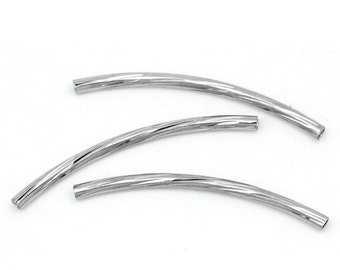 """25 pcs. Silver Tone Noodle Twisted Textured Pattern Tube Long Thin Curved Beads - 35mm x 2mm (1.38"""" x 0.08"""")"""