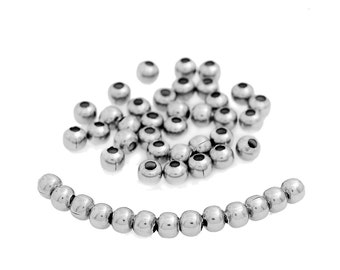100 pcs 304 Stainless Steel Ball Spacer Beads- 6mm - Hypoallergenic!
