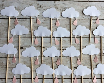 12 Cloud Baby Shower Cupcake Toppers- raindrop Cloud Cupcake Toppers Pink raindrop