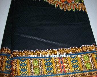 2 Yards Black color dashiki fabric Per Panel Textured Cotton Print/Angelina fabric/ Black dashiki dress/Dashiki skirt/Dashiki Top