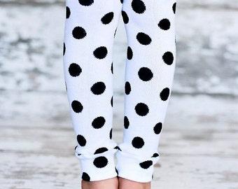 ON SALE Leg Warmers - Black Polka Dots on White