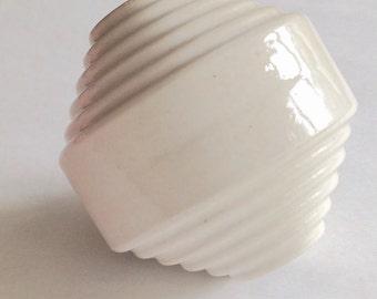 Vintage Art Deco lightning rod ball, antique ribbed insulator globe, porcelain home decor, garden art, wedding decoration, minimalist decor