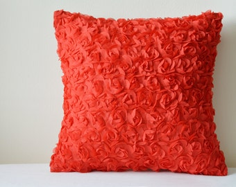 Valentine Red Rosette Pillow Cover , 3-D Red Roses Cushion Cover , Red Rose Decorative Pillow , Home & Living , Red Rose Scatter Cushion