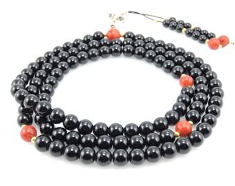 Tibetan Mala Black Onyx Mala 108 Beads with Coral and Dorje Guru Bead for Meditation