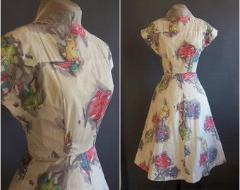 1950s artist novelty print dress Associated American Artists AAA print Howard Low Cosmic Bouquet art brut atomic print dress, 1950s dress