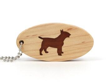 Bull Terrier Dog Key Ring Wood Dog Breed Key Chain Wooden Dog Key Fob Bull Terrier Key Chain Walnut