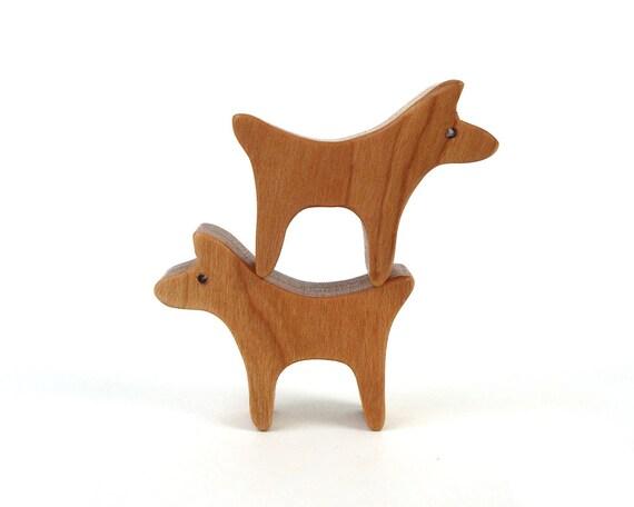 Dog Pair Waldorf Wooden Toy Miniature Noah's Ark Animals Farm Play Set Hand Cut Scroll Saw