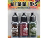 Mountain Vineyard Alcohol Ink Kit - Espresso, Raisin, Pesto Tim Holtz Alcohol Inks Set