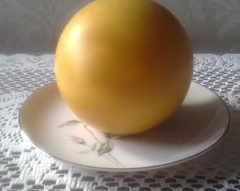 "Natural Handmade 100% Beeswax Candle - 4"" ball"