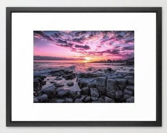 Hawaii Art, Poipu, Kauai, Hawaii, Sunset, Pink, Purple, Gray, Lava, Ocean, Fine Art Photography, fPOE, Mountains, (6 sizes)