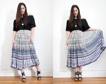Vintage Floral Indian Gauze Cotton Batik Boho Hippie High Waist Maxi Skirt 70s