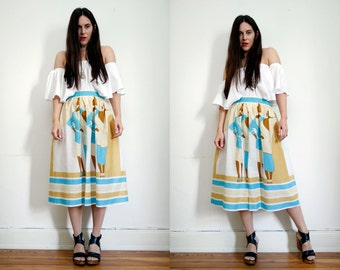 Vintage Abstract Print Nautical Cotton Boho Hippie High Waist Midi Skirt 70s