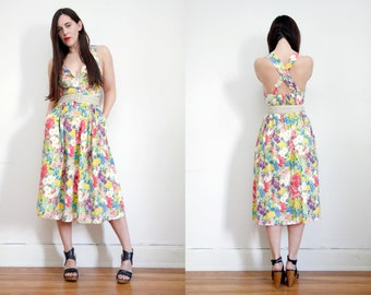 FREE SHIPPING Vintage Floral Cotton Pinafore Dungaree Sundress Grunge Revival Overall Dress 80's