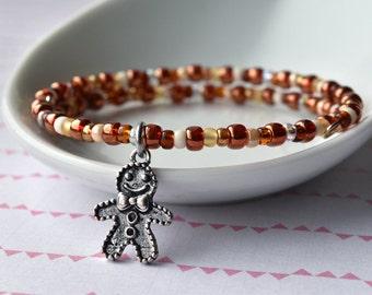 Gingerbread Man Bracelet, Beaded Bangle, Ginger Bread Man, Stacking Bracelet, Wire Bracelet, Christmas Jewellery, Bracelet UK