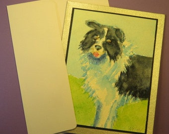 "BORDER COLLIE CARD, Original Handmade Watercolor (""Blank Inside"")"