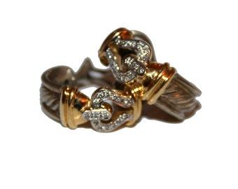 Vintage David Yurman Earrings 14k Sterling Silver Diamonds Hoop style D.Y. Vintage DY Earrings Mixed Metals