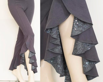 Bamboo Belly Dance Ruffle Pants in Gray with Sequin Lace Detail