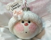 Daddy's Little Girl Angel Ornament Pink Wings Hand Painted Personalized Townsend Custom Gifts - F