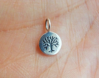 Sterling silver, small tree of life  charm, tree of life, tree charm  (8x13mm)