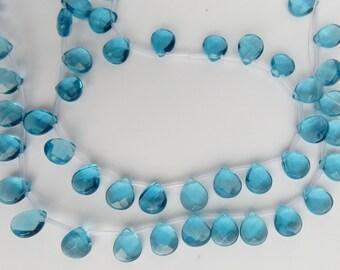 8pcs  London blue , faceted , glass  pear briolette beads (11x9mm)