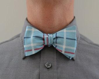 Men's Bow Tie in Blue Plaid- freestyle wedding groomsmen custom bowtie neck self tie navy robins egg blue red plaid white