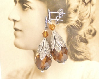Art deco sterling silver marcasite and Czech faceted glass earrings from vintage beads
