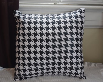 Black Foil Metallic Houndstooth Pillow Covers