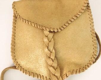 Gold leather boho bag. Hippie soft leather crossbody. Ibiza style bag.