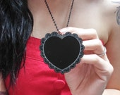 Scalloped Lace Heart Engraved Acrylic Long Necklace 22""