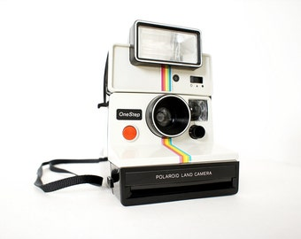 Polaroid Camera SX-70 Rainbow OneStep and Q-Light Flash - Film Tested Working