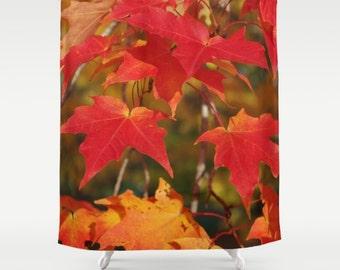 Fiery autumn maple leaves shower curtain, color photography, photograph, botanical, red, scarlet, gold, orange, home decor, bathroom decor