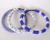 Blue, white beaded stretch bracelet, roll on bracelet, woven seed bead jewelry, beaded blue, white bracelet set of 3 bracelets