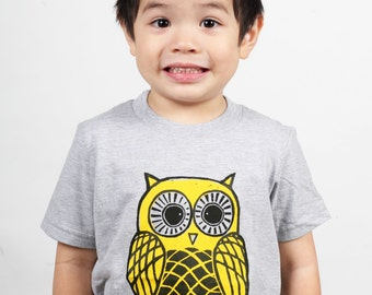 Ready To Ship!!!! Yellow Owl on American Apparel heather Grey Children's T Shirt 2T, 4T, 6T, 8Y, 10Y, 12Y