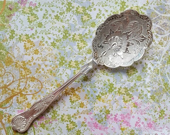 Nouveau Scalloped Reticulated Filigree Relief Large Serving Spoon