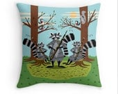 "Raccoons Playing Bassoons -  illustrated Cushion Cover / Throw Pillow Cover - Children's room - Kids Decor - (16"" x 16"") by Oliver Lake"