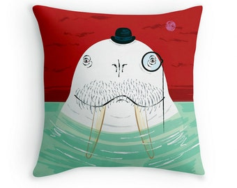 "Sir Wilfred Wallace The Wonderful Walrus - Children's Decor - Animal Cushion cover / Throw Pillow cover - (16"" x 16"") by Oliver Lake"