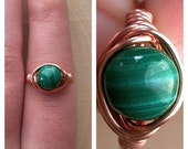 AUTUMN SALE 15% OFF Wire Wrapped Malachite Ring Size 7