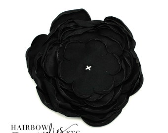 Black Singed Satin Flowers 4 inch Multi Layer Singed Flowers, Satin Flowers, Satin Flower Headband, Satin Singed Flowers, Flower Girl