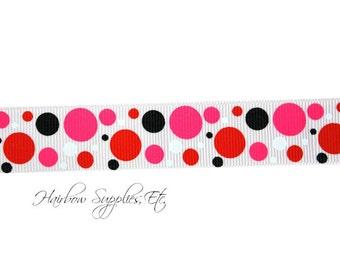 Valentine's Day Bubble Dots 7/8 Grosgrain Ribbon - Valentine Ribbon, Valentine Hair Bows, Valentine Headband, Valentine Baby, Valentines Day