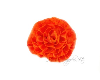 Orange Rose Ruffle Silk Flowers 2 inch - Orange Flowers, Orange Hair Flowers, Orange Silk Flower, Orange Flower, Orange Hair Accessories