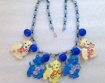 Vintage 1940's hand painted celluloid dogs & roses necklace - bakelite era