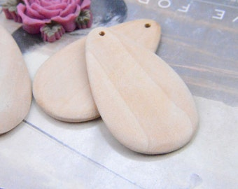20 pieces Large water-drop Wood charm Unfinished Natural Wood Bead Tear-Drop Shape 66x38mm
