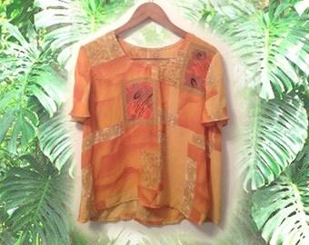 90s Boho Orange Split Sleeve Office Blouse size Large