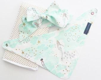 Baby Girl Gift Set - Metallic Gold Mermaids - Baby Shower Gift - Fabric Bow Headband - Bandana Bib - Under the Sea - Mermaid Bib Mermaids