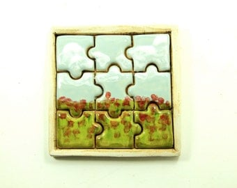 Puzzle Tile - Red Fields