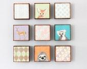safari nursery wall art- nine set of 5x5 art blocks- nursery decor, gazelle, animal prints, safari decor, geometric print, redtilestudio
