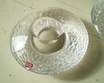 2 Vintage Orrefors Discus Candle Holders - Designed by Lars Hellsten - Made in Sweden - Round Crystal Glass Clear