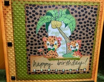 Birthday jungle tigar card handmade l